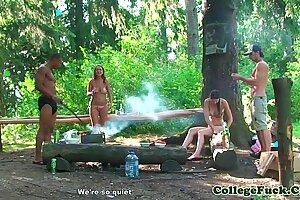 Bikini nubile drilled in the woods