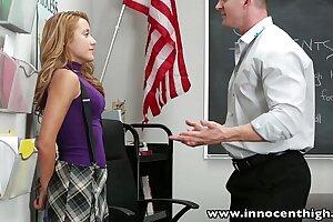 InnocentHigh Smoker teenage schoolgirl drilled in classroom