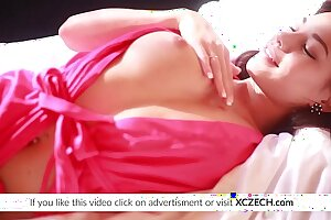 Flawless teenager showcasing labia and milking