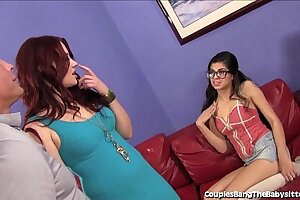 Warm Babysitter Dual Teamed By Wifey and Husband!