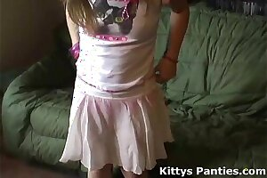 Puny teenage Kitten in a nice lil' rosy micro-skirt