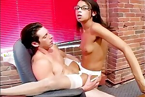 Smallish titted nerdy assistant pummeling in underwear