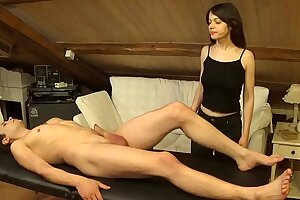 Accidental facial cumshot on Melody after a sexy dual massage and stiff fuck