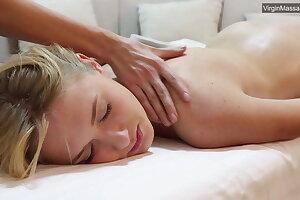 Blonde babe Jennifer Anixton has her virign coochie massaged