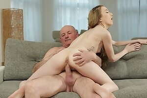 DADDY4K. Sexually aroused boy finds his modest girlfriend and mature dad fucking