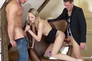Tiny German Teenage Tricked to 3Some Fuck by Two Faux Agent