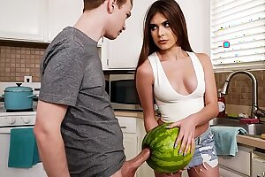 StepSister Caught Her Brutha Masturbating With A Watermelon - w/ Winter Jade and Alex Jett