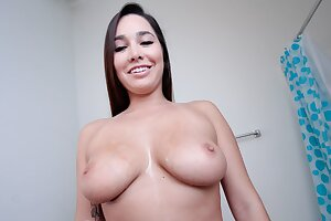 Hot Teen With Enormous Innate Tits & Enormous Donk Oiled And Fucked Point of view