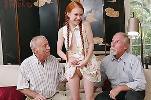 BLUE PILL MEN - Old Men Meet Petite Redhead Teenage Dolly Little IRL After Chatting Online