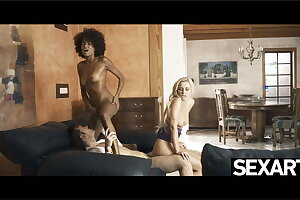 Ebony beauty joins a super-naughty couple for passionate threesome