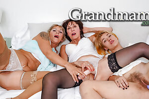 Two Hairless Grandmothers and their Full Pubic hair Niece
